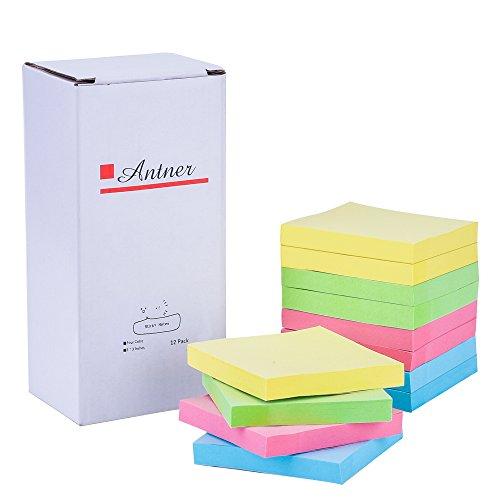 Antner 12 Blöcke 76 x 76mm Diverse Farbe Haftnotiz Notes, 100 Blatt / Block (Cube Recyceln)