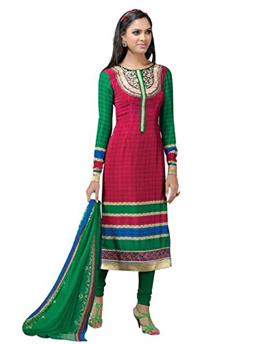 crazy bachat Indian Designer Salwar Suits Frech Crape Pink and Green Color Semi Stitched Dress