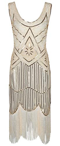 Ro Rox 1920er Jahre Great Gatsby Kleid - Champagne (S - 36)