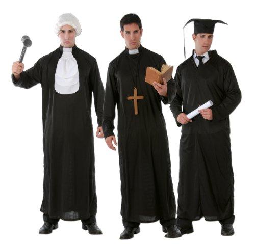 Student Priester Richter - Kostüm Set für Herren Karneval Fasching schwarz Gr. M-XL, - Lustige Kostüm Priester