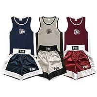 Uniforme de de Boxeo para niños - Conjunto de 2 Piezas (Camiseta y Pantalones Cortos) - para niños de 3 a 14 años - 7-8 años, Granate