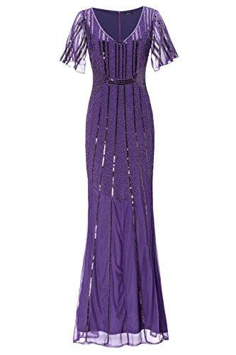 Metme Damen 1920er Jahre Retro offene Gabel Ärmel Fischschwanz Saum Pailletten Perlen Lange Gatsby Prom Dress Kleid -