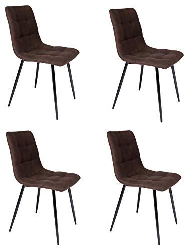 SAM Esszimmerstuhl ULF 4er Set, Stoffbezug braun, Schwarze Metallfüße, Schalenstuhl im skandinavischen Stil, quadratische Absteppungen
