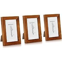 Marco 10x15 cm de Fotos para decoración de paredes de MADERA SÓLIDA - Paquete de 3 marcos - Con Paspartú para fotos 6,5x10,5 incluido - REBAJA - ¡Anchura 2cm! - Café Rústico