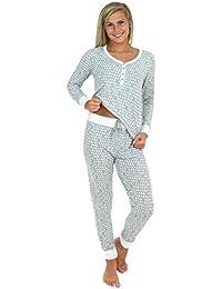 f61aa95d1 Sleepyheads Ropa de Dormir para Mujer Conjunto de Pijama de Punto con  Camiseta Henley de Manga