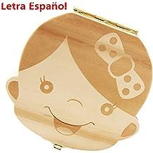 Westeng Caja Almacenamiento Madera Almacenaje Para Dientes De Leche Niña Letra Español,1Pcs