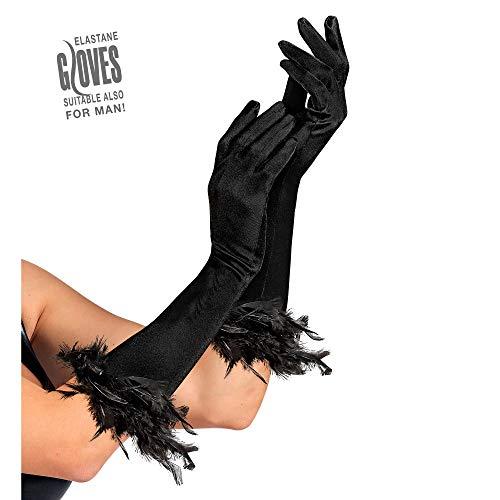 Widmann 1446F, Ärmel Handschuhe mit Feder Kranz schwarz