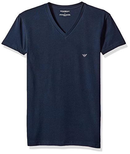 Emporio Armani Herren The Big Eagle Vneck T-Shirt Thermo-Unterwäsche, Oberteil, Marineblau, X-Large