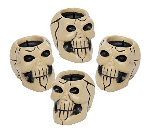 Rubies Haunted House - Pack de 4 velas calaveras de cerámica para Halloween