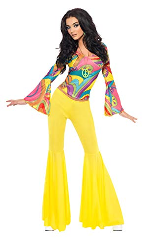 70s Groovy Babe Costume with Yellow Flared Pants. For Teens or Adults