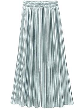 Falda Larga para Mujer Maxi Falda Plisada en Cintura Elástica