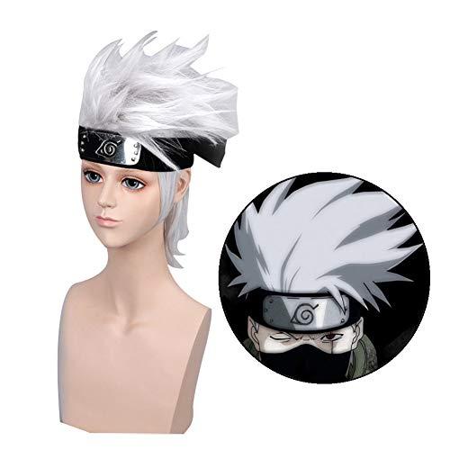 Kostüm Naruto Kakashi - KroY PecoeD Naruto Cosplay Perücke, Anime Kakashi Silber Haar Perücken Party Dekoration oder Cosplay Kostüm Perücke beste Geschenk für Kinder, Mädchen, Erwachsene und Anime Fans