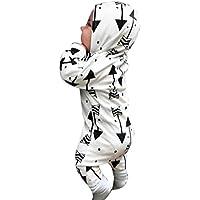 Moonuy Niño pequeño bebé bebé Flecha Impresión Manga larga con capucha Romper Algodón Jumpsuit Ropa Ropa (White, 70)