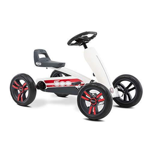 Kartfahren Kinderfahrrad vierrädriger Kart Kinderwagen Spielzeug Kinderwagen Rennlenkrad Design Sitz 3 verstellbar, kraftvoller Hinterradantrieb (Color : WHITE, Size : 83 * 49 * 50CM)