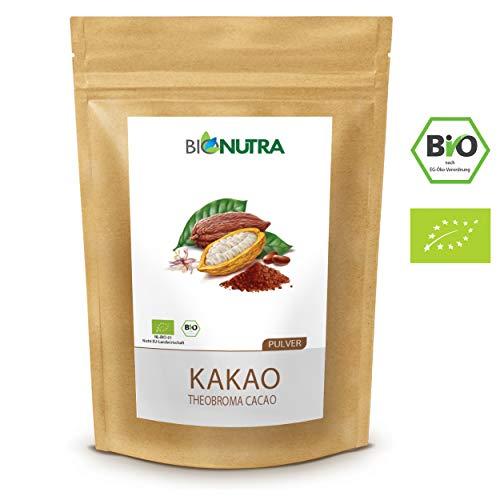 BioNutra® Kakao Pulver Bio 1000 g, stark entölt (11% Fett), Bio Kakaopulver ohne Zucker, gemahlen aus Criollo Bohnen