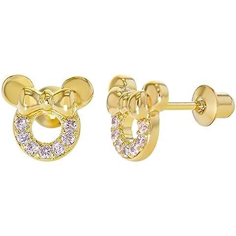 En Season Jewelry–Pendientes 14quilates, cristal rosa, diseño de ratón, con tornillos, para niña
