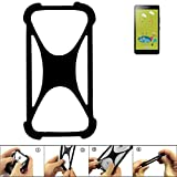 K-S-Trade Handyhülle für Alcatel Pixi 4 (6 Zoll) 3G 8 GB Schutz Hülle Silikon Bumper Cover Case Silikoncase TPU Softcase Schutzhülle Smartphone Stoßschutz, schwarz (1x)