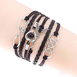 Muse Creations Charm Multilayer Leather Bracelets for Girls (Black),Gift for Rakhi