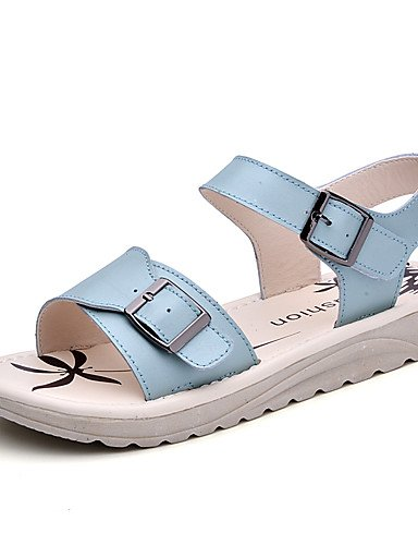 LFNLYX Chaussures Femme-Habillé / Décontracté-Bleu / Rose / Blanc-Talon Plat-Gladiateur-Sandales-Cuir Light Blue