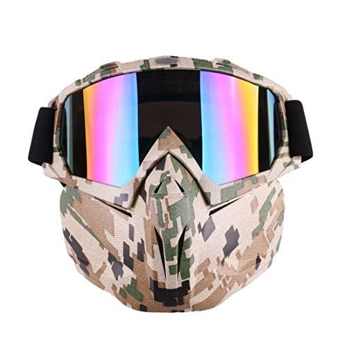 LUHUIYUAN Brille Maske Eine Motorradbrille Harley Goggles Offroad Brille Taktische Brille Polarisierte Sport-Sonnenbrille,Camouflage