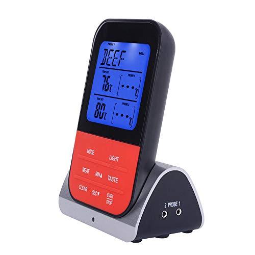 CN&Q Wireless Remote-Fleisch-Thermometer, Kochen Lebensmittel-Thermometer mit Dual-Sonde, Alarm & Timer, Wasserdicht Küche Thermometer für Grill, Backofen, Herd, und Milch -
