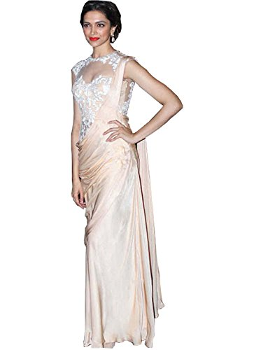 Deepika Georgette And Net Cream Saree  available at amazon for Rs.900