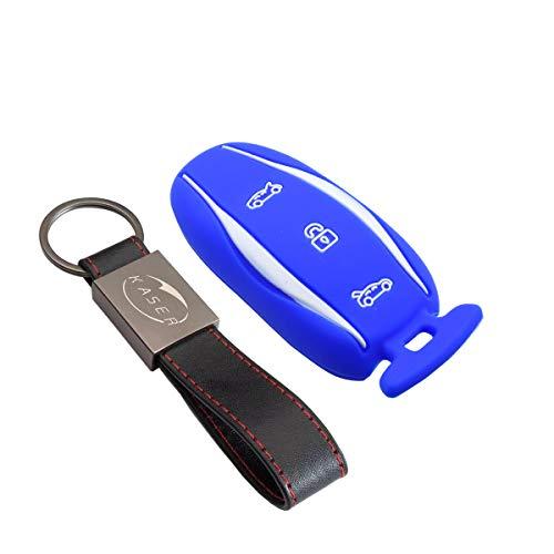 kaser Funda Silicona para Llave Tesla - Carcasa Llaveros para Coche Tesla Model X S Cover Case Protección Mando Distancia Auto (Azul)