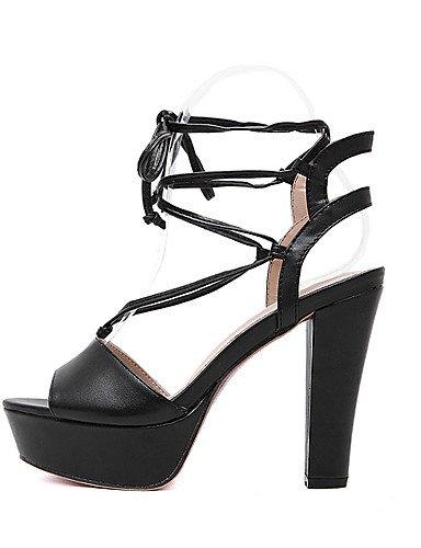 UWSZZ IL Sandali eleganti comfort Scarpe Donna-Sandali-Formale-Tacchi / Plateau / Aperta-Quadrato-Finta pelle-Nero / Tessuto almond almond