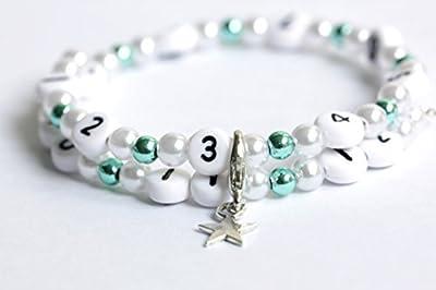 Bracelet d'allaitement de couleur blanc et turquoise en acrylique