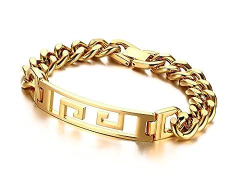 Vnox Antikes Edelstahl Gold überzogenes Höhle heraus griechisches Schlüsselverbindungs Armband