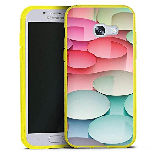 DeinDesign Samsung Galaxy A3 2017 Silikon Hülle transparent gelb Case Schutzhülle Kreise Papier Struktur (Gelber Kreis Papier)