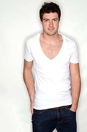 Deep V Neck T Shirt - Available in Black & White XS - L (Medium, White)