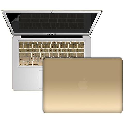 SlickBlue toque suave estuche rígido de plástico caso cubierta & Protector de pantalla para MacBook Air de 13 pulgadas (Modelos :1466 & UN1369) - oro