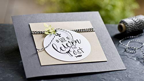 Rayher Hobby 29115000 Holzstempel Wir Feiern Fest, 6 x 7 cm, Textstempel für Einladungen bei Hochzeit, Taufe, Kommunion, Konfirmation, Butterer Schrift-Stempel