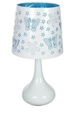 Tischlampe mit Berührungssensor aus weißem Metall, mit blauen Schmetterlingsmotiven von Atmosphera - Lampenhans.de