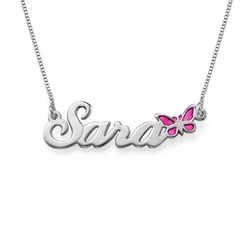 r Silber mit Schmetterling - Personalisiert mit Ihrem eigenen Namen! (Personalisierte Schmetterling)