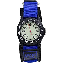 Affute Sports Waterproof Gift Watch with Canvas Nylon Strap Light Luminous for Boy Girl Kids Student (Blue)