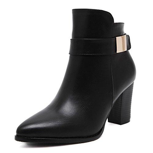 AgooLar Damen Rein PU Hoher Absatz Reißverschluss Stiefel mit Metallisch, Schwarz, 38