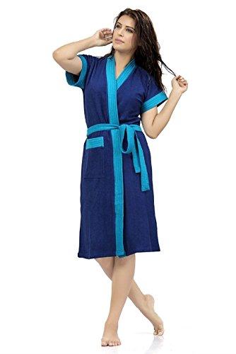 Elevanto Premium Collection Half Sleeve Soft Terry Cotton Bathrobe-Free Size(RoyalBlue & Sky Strips)