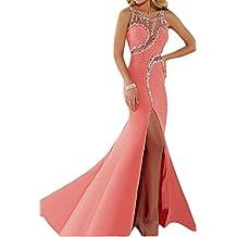 ivyd ressing Mujer luxurioes Ranura redondo Cuello piedras fiesta vestido fijo para vestido de noche