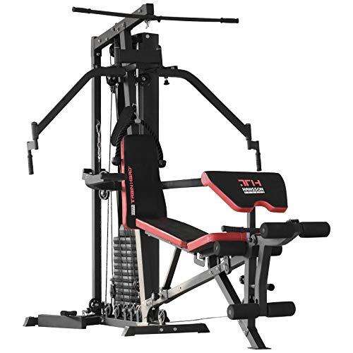 TrainHard® Multifunktion Kraftstation Multistation Home Gym aus Hantelbank Seilzugstation Curlpult Butterfly und Beintrainer mit 85 kg Gewichten