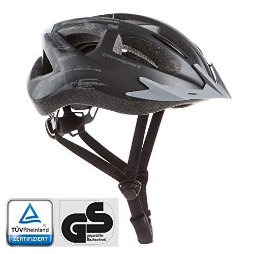Ultrasport Fahrradhelm mit LED, weich gepolsterter Bikehelm mit Belüftungsschlitzen, TÜV/GS-geprüft, schwarz, L/XL, 59-64 cm