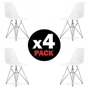 Due-home, Bench–Set di 4sedie da pranzo tipo Tower bianche, in legno di faggio, stile nordico, dimensioni: 82 x 46x 52cm (H x l x P)