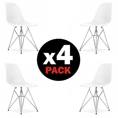 Stuhl Metall (due-home (Steel)–Pack 4Stühle Esszimmerstuhl, weiße Tower Metall Stil Nordico, Maße: 82cm (Höhe) X 46(Breite) cm x 52cm (Fonds))