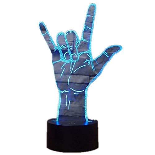 ZHJXQD 3D dekoratives Nachtlicht Lampe 3D optische Illusion ich Liebe Dich gebärdensprache led Hologramm nachtlicht USB Betrieb romantische Valentinstag Party Dekoration Emotionales Nachtlicht