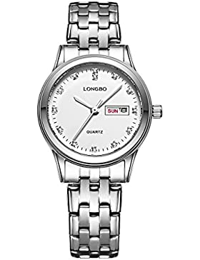 Frauenwahldatum und weise Rhinestone Kalenderuhr einfache Legierung analoge Quarz Silber Uhr