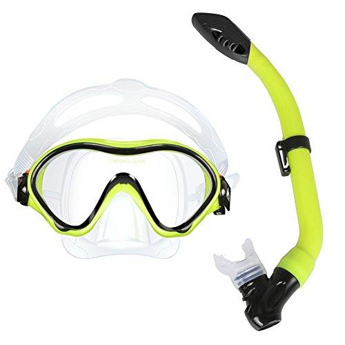 Schnorchel-Paket Set, MarCoolTrip MZ Schnorchel-Tauchbrillen Set für Kinder Anti-Fog beschichtetes Glas Tauchmaske Schnorchel mit Silikon Mundstück Spülventil und Anti-Splash-Schutz für Tauchen Schwimmen Schnorcheln (Gelb)