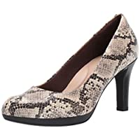 Clarks Women's Adriel Viola Pump, Taupe Synthetic Snake Print, 100 M US