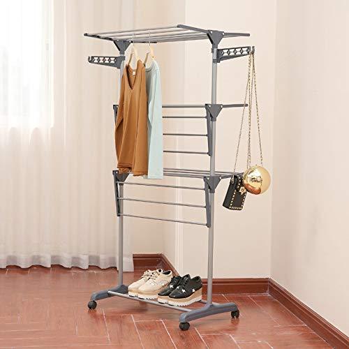 Standtrockner Wäscheständer Faltbares Wäscheständer Freistehender Wäschetrockner Wäscheständer,Mehrschicht-Faltblatt-Wäscheständer, 360 ° Bewegliches Rad,Grey