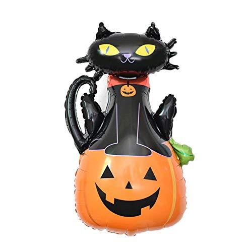 Dastrues 10 STK Folien Ballon Aufblasbar Bälle Luft Halloween Dekoration Cartoon Wiederverwendbar für Party Halloween Aufblasbarer Ball - Pumpkin Black cat